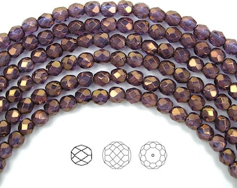 4mm (102pcs) Crystal Bronze Luster coated, Czech Fire Polished Round Faceted Glass Beads, 16 inch strand