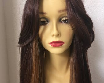 Synthetic wigs 26 inch long layered straight classic adjustable cup with straps golden brown comes in 5 more colors Check our page .
