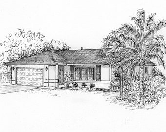 Custom House Portraits in Ink - architectural sketch of your home - unique gift - commissioned ink sketch from your photo