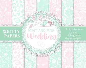 "Pink and Mint digital paper : "" Mint and Pink Wedding "" wedding digital paper, wedding printable paper for invitations, cards, bridal"