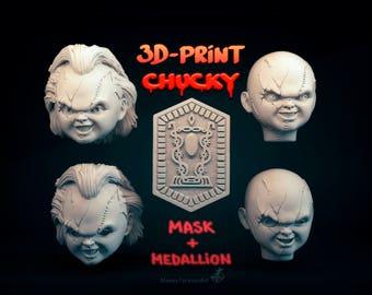 Mask head Chucky STL & OBJ for 3d printing + Bonus