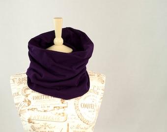 Purple Short Infinity Scarf, Neck Warmer Cowl Scarf, Aubergine Infinity Scarf, Dark Jersey Short Scarf, Women Fashion Short Cozy Circle