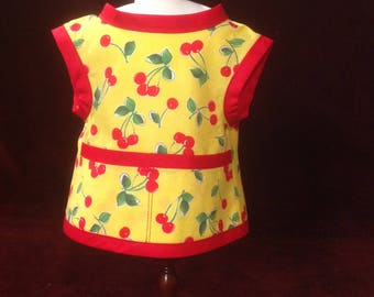 Cherry Apron for 18 Inch Doll - Cooking - Art- Painting