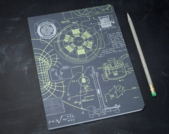 Physical Science E&M Softcover Notebook | Dot Grid Journal, Bullet Journal, Tesla, Electricity, Bujo, Physics, Engineering, Lab Notebook,