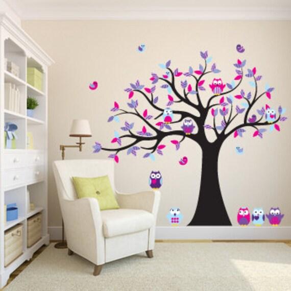 Kinder Wandtattoos Für Den Kindergarten Vinyl Aufkleber Baum Eule Baum  Aufkleber 5 Freies Eulen