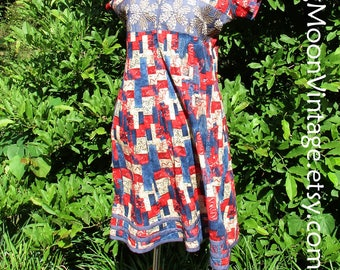 Vintage BOHO DRESS, Embroidered India Cotton? Red Blue Denim trim, short hippie dress, cotton gauze tent dress, vintage 70s festival dress