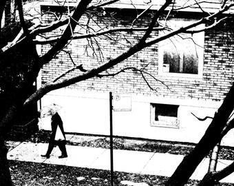 black and white photography, rain, umbrella, art, modern decor, litho style, Signed Print - RAINY DAY