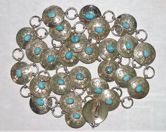 "Vintage EstateEthnic/Regional/Tribal Southwestern Sterling Silver Turquoise Belt 105 Grams 39"""