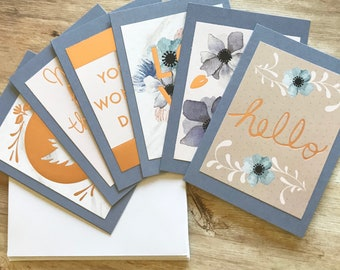 Set of 6 Greeting Cards With Envelopes- Rose Gold