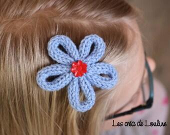 Blue knitted flower Barrette