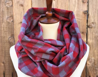 Plaid Scarf, Red and Gray Scarf, Gift for Her, Flannel Scarf, Infinity Scarf, Flannel Infinity Scarf, Modern Scarf, Circle Scarf, Cozy Scarf