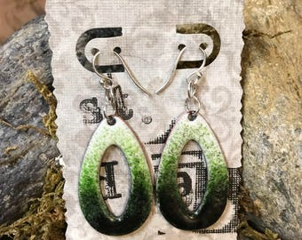 Teardrop hoop dangle earrings - - ( you pick the color combination) - copper with enamel fusion - set in sterling silver