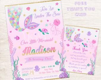 Mermaid Invitation, Mermaid Birthday Invitation, Under The Sea Birthday Invitation, Printable Invitation