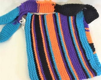 Handknitted stripey colourful shoulder bag funky and individual