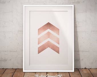 Rose Gold Poster, Rose Gold Chevron, Rose Gold Print, Printable Rose Gold, Rose Gold Wall Art, Rose Gold Decor, Chevron Print, Rose Gold Art