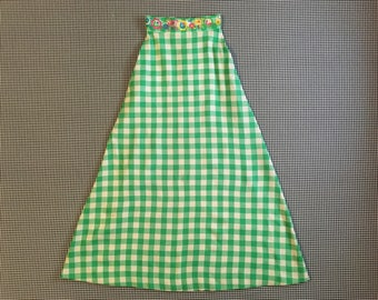 1970's, wooly, bell shaped, maxi skirt, in green and white plaid, with embroidered waistband, Women's size XS