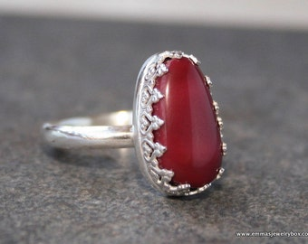 Ring, Red Alunite, Red Alunite Ring, Silver Ring, Silver and Alunite Ring, Statement Ring, One of a Kind