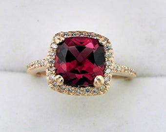 AAAA Rhodolite Garnet 2.40 carats Cushion Cut Red Garnet set in 14K Rose gold Halo ring with .30 carats of diamonds  H88