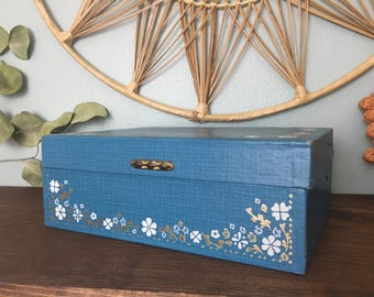 Vintage Blue Gold White Floral Jewelry Box/ Multi-level Jewelry Storage Box