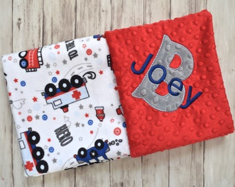 Monogrammed Minky Baby Blanket,Personalized Fire Truck, Police, First Responder Blanket with Name, Birth Stat Newborn, Red,  Blue, Gray