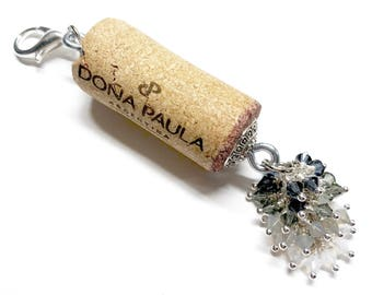 Cheers to New Years color-burst cork floating keychain with Swarovski crystals