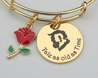 Stainless Steel Beauty and the Beast, Tale as old as Time, Gold Stainless Steel Charm, Gift For Her, Gold Steel Bangle, Disney Jewelry
