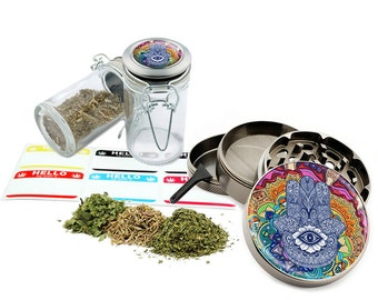 "Hamsa - 2.5"" Zinc Alloy Grinder & 75ml Locking Top Glass Jar Combo Gift Set Item # G123114-0010"