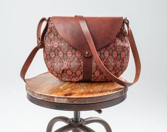 Tapestry bag, make up bag, small crossbody bag, gift for her, leather bag, crossbody leather purse, brown leather handbag, Textile leather