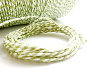 10-meter coupon of Baker's twine, pale green and white, 2 mm thick 2 strands