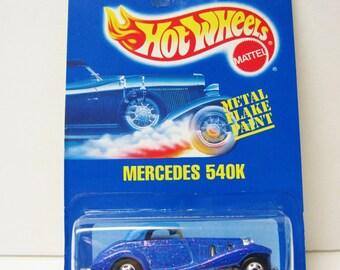 Hot Wheels Mercedes 540K Purple Metal Flake Paint #164 Mattel Die Cast Car 1/64 Scale Vintage 1991 Toy Collectible On Card MOC Sports Car