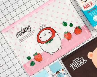 Molang,Character,  Vinyl A4 Zip Pouch