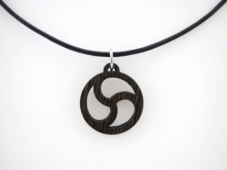 Unisex natural wenge wood bdsm emblem pendant on leather cord zoom biocorpaavc Gallery