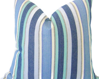 Blue Striped Pillows - Decorative Pillow Cover - Lumbar Pillows - SEAGLASS BLUES - Stripe Pillow - Blue Pillows - Nautical Striped Pillows