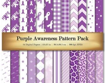 Digital Scrapbook Paper Purple Awareness Ribbon Digital Scrapbooking Paper Variety 24 Pack Hope Strength Love Patterns - Commercial Use OK