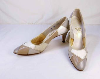 JOHANSEN Taupe, Cream, Beige, and Mocha Pumps US Size 8 3A/5A
