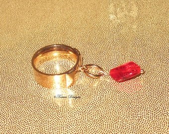 Legend of Zelda Red Rupee Ring Stainless Steel Rose Gold Glass Bead Size 7 Women Custom Handmade OOAK by TorresDesigns Ready To Ship