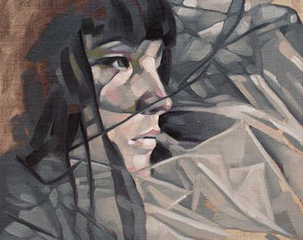 "Contemporary Portrait Painting in Oils, Moody Feminine Portrait, Original Oil Painting in Neutral Hues - ""In the Gray"""