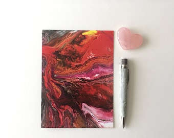 Handmade notebook-acrylic paint pour