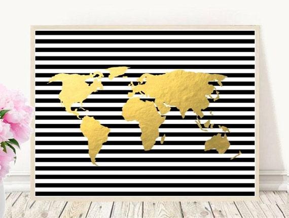 World map print printable map gold world map printable art gumiabroncs Gallery