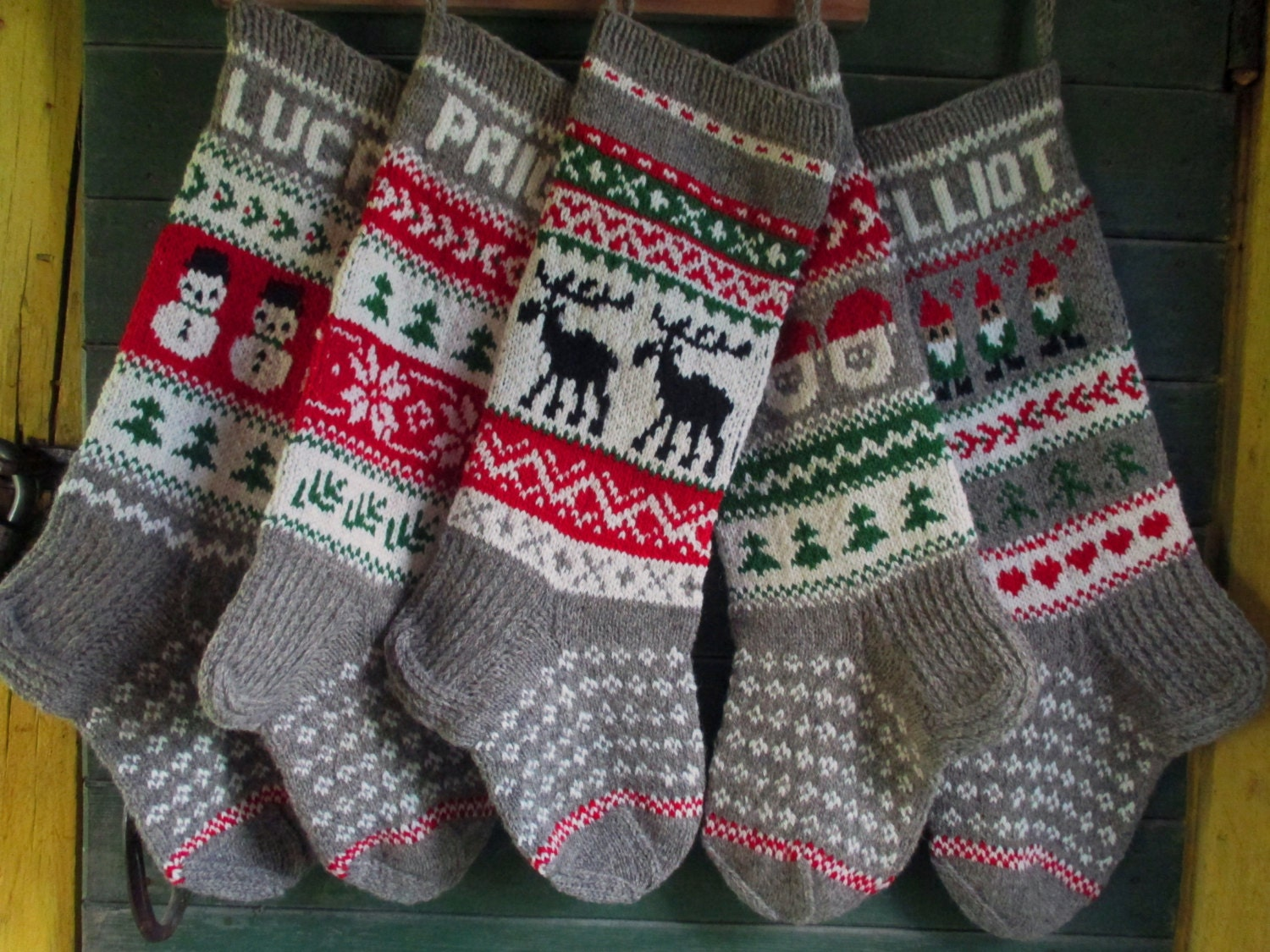 Knit Christmas Stockings 24 or 26 Personalized