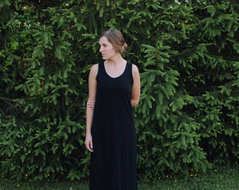 Womens Jersey Knit Tank Maxi Dress  Cotton Jersey Knit Women's - Handmade Clothing - Made in the USA - Allegany