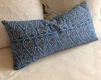 Anya cobalt blue lumbar Bolster Pillow 13x26 insert included