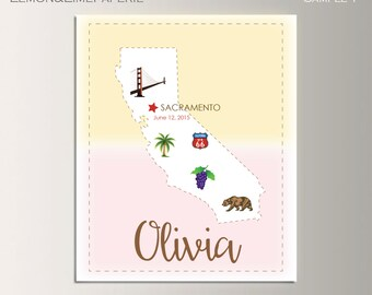 California Birth Map Print, California Map Art Print, Kids Room Map Wall Art, California Nursery Art, CA Poster, California Unique Baby Gift