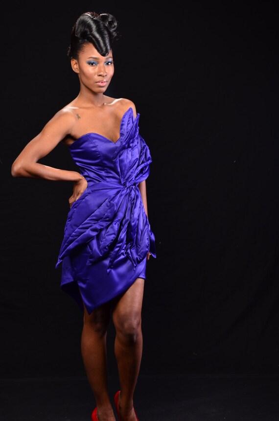 Lujo Vestido De Cóctel De Satén Púrpura Ornamento - Ideas de Estilos ...