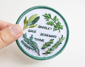Herb Garden Sew On Patch - 7cm - Machine Embroidery - Scarborough Fair