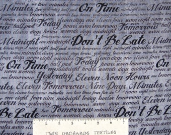 On Time Fabric - Number Words Stripe on Gray - Windham Cotton YARD