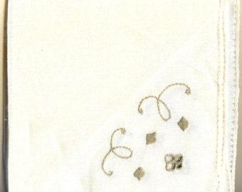 SALE - Set of  Four Vintage Linen Towels - White, Grey
