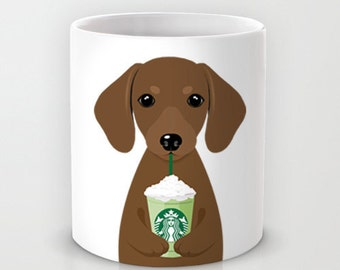 Personalized mug cup designed PinkMugNY - I love Starbucks - Dachshund - Brown #3