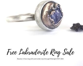 Raw Tanzanite Ring Raw Stone Ring Sterling Silver Crystal Ring Modern Rough Gemstone Uncut Mixed Metal Free form Organic Ring Electroformed