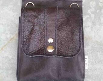 leather hip bag, festival bag, leather belt bag, fanny pack, grey blue, man